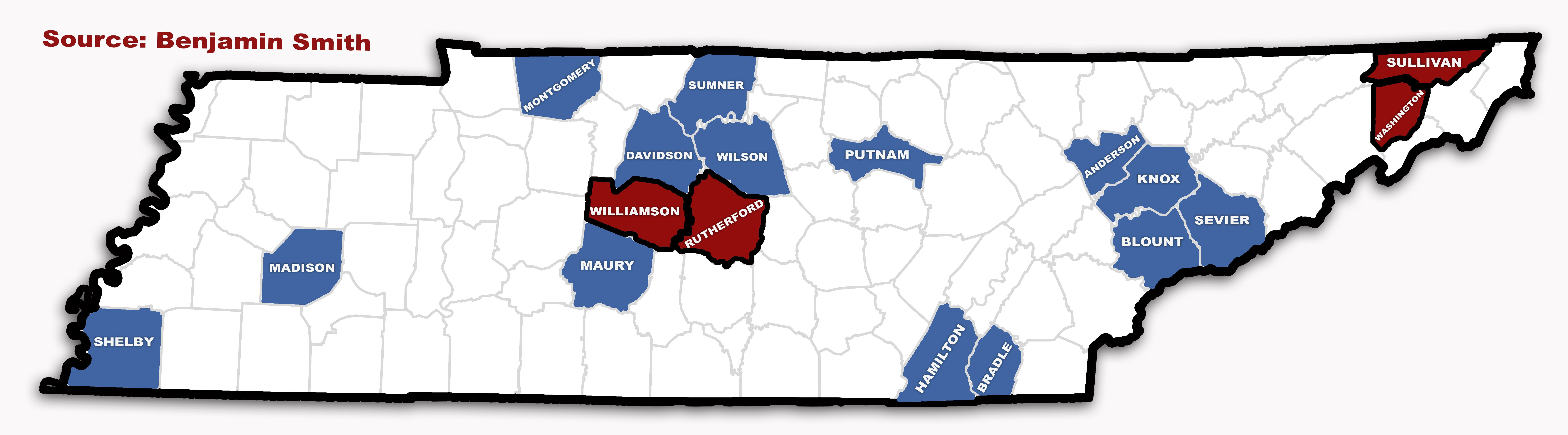 Tennessee counties covered by URLTA